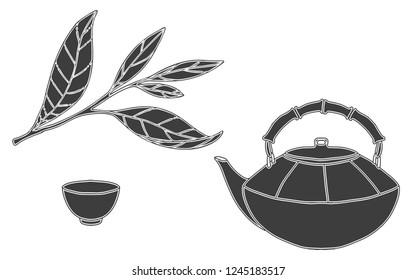 Black silhouette teapots and tea leaves. Green and black tea set.