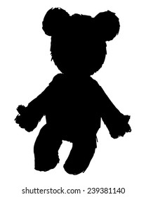 black silhouette of teddy bear