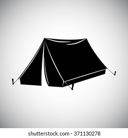 Black silhouette of tent. Flat design. Eps 8
