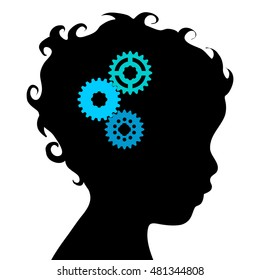 black silhouette thinking person on white background