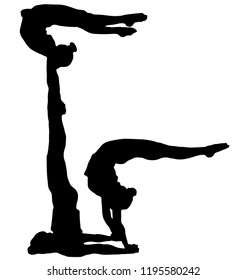 Black silhouette of three acrobats on a white background. Sport, competition, performance, public. Acrobatic trick.