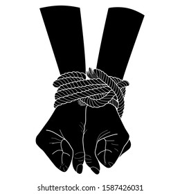 Black silhouette of tied hands with a rope. Vector hand drawn illustration isolated on white background. Hopelessness concept
