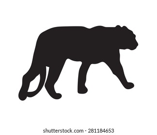 black silhouette of tiger