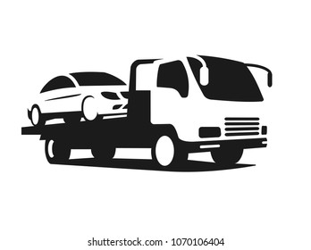 black silhouette of tow truck with broken car