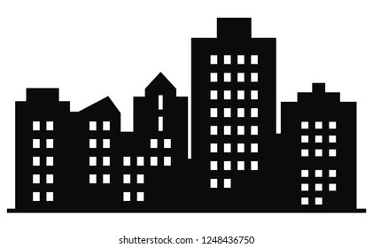 Black silhouette of town, vector icon