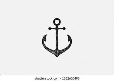 Black silhouette traditional anchor emblem of maritime industry hand drawn stamp effect vector illustration. Vintage grunge texture on old paper for poster or label decoration.