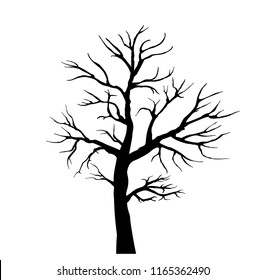 Black silhouette of a tree without leaves. flat vector illustration isolated on white background