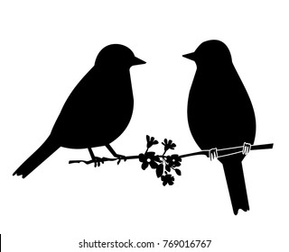 black silhouette of  two birds