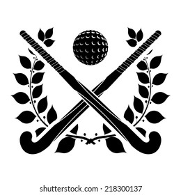 Black silhouette of two sticks for field hockey and ball with a laurel wreath. Vector illustration.