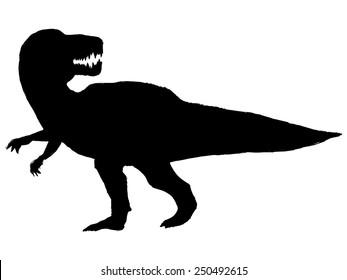 black silhouette of tyrannosaurus
