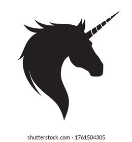 Black silhouette of a unicorn head.