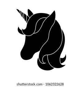 Black silhouette of unicorn on white background. Vector illustration. Black shape of unicorn's head. Graphic badge, banner, icon, print or logo.
