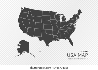Black silhouette of United States of America map on transparent background. EPS10 vector USA file organized in layers for easy editing.