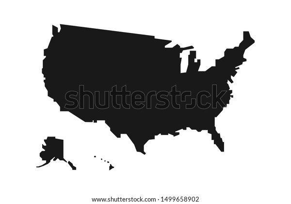 Black Silhouette United States America Map Stock Vector ...