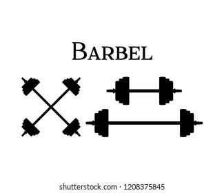 Black Silhouette Vector Barbel for GYM Fitness Sign Symbol Icon Logo Template design Inspiration