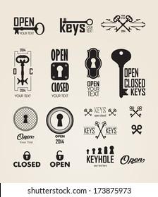 Black Silhouette. Vector. Icon Key. Key Logo
