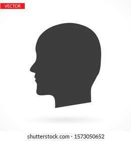 black silhouette vector icon of the profile of the human head.vector icon flat vector vector icon illustration isolated