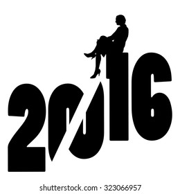 black silhouette vector illustration 2016 New Year