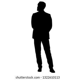 Black silhouette of a walking man on a white background