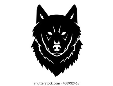 Black silhouette of a wild wolf on a white background. Symmetric drawing of an animal head from the front side. Symbol of strength, indomitable spirit, individual freedom, power, instinct and fear.