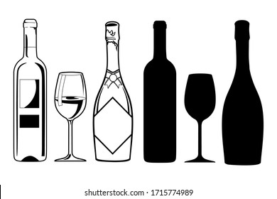 Black silhouette of a wine bottle and sparkling wine and a glass. Linear drawing for a bar or cafe or restaurant. Logo symbol, fault card icon