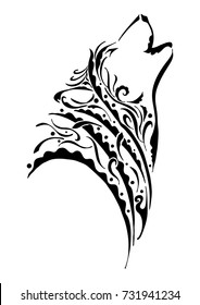 black silhouette wolf head howling tribal tattoo with wind element or air element concept design with withe isolated background