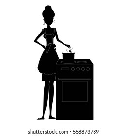 Black silhouette Woman cooking in kitchen vector illustration. Woman cooking isolated.
