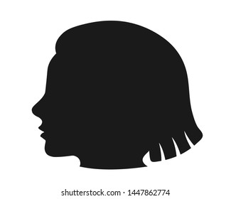 black silhouette of woman head on white background
