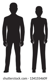 Black silhouette of the woman and man. Elements for design.
