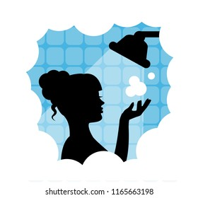black silhouette of woman taking a shower and everywhere foam