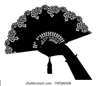 Black silhouette of woman's hand with open fan isolated on white. Vector illustration