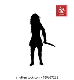Black silhouette of women zombie with knife on white background. Isolated image of undead monster. Vector illustration