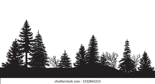 Black silhouette of a wood / vector, isolated