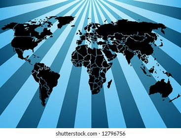 Black Silhouette World map, on shiny blue beams background (Vector). Each country is a separate shape. Background is in a separate layer. Color are controlled by 5 Swatches