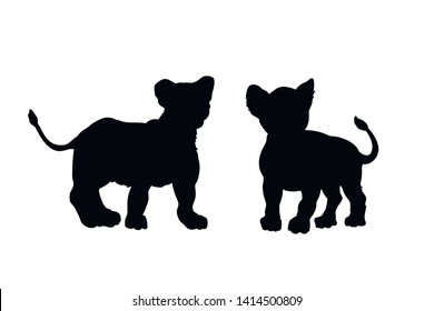 Black silhouette of young lions on white background. Lionet image. Isolated icon of wild cat. African animals. Vector illustration
