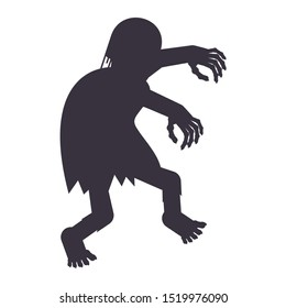Black silhouette of a zombie. The living dead. Halloween character. Flat vector cartoon person on white background.