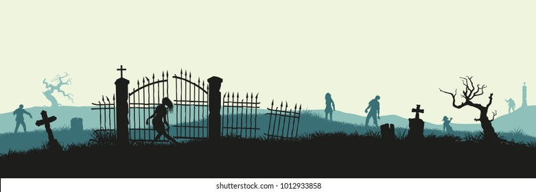 Black silhouette of zombies on cemetery background. Nightmare landscape with dead people. Panorama of undead monster and gravestone. Halloween vector illustration