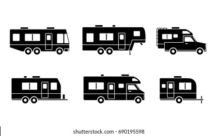 Black silhouetted group of auto RVs, Camper cars / Camping vans, Truck Trailers, recreational vehicles vector flat design icons, retro clipart isolated on white background