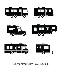 Black silhouetted group of auto RVs, Camper vans / Camping cars, Truck Trailers, recreational types vehicles vector flat design icons, retro clipart isolated on white background