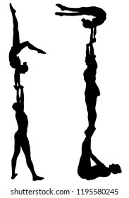 Black silhouettes of acrobats on a white background. Sport, competition, performance, public. Acrobatic trick.