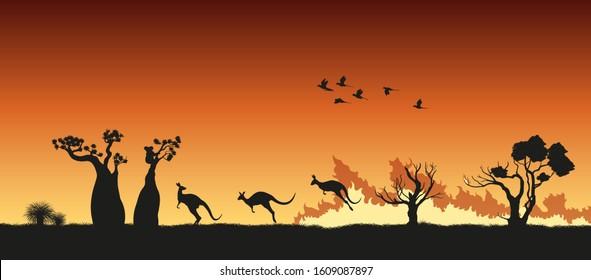 Black silhouettes of Australian animals in bushfire. Pray for Australia.  Scene of forestfire with kangaroo, koala and parrots. Vector illustration