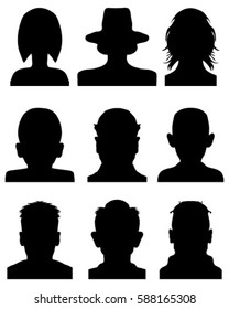 Black silhouettes of avatar profiles, vector