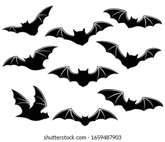 Black silhouettes of bats. isolated on white background. vector icon illustration