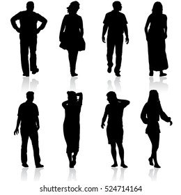 Black silhouettes of beautiful man and woman on white background. Vector illustration.