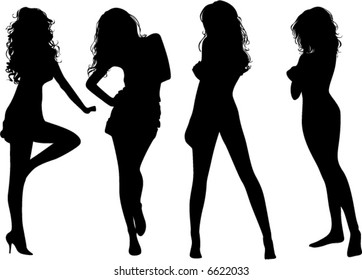 black silhouettes of beautiful woman on the white