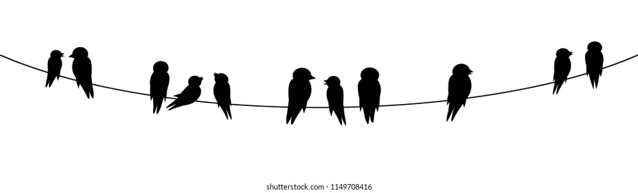 Birds On Wire Stock Vectors, Images & Vector Art | Shutterstock