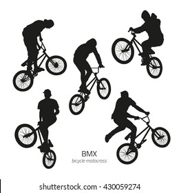 Black silhouettes of bmx riders jumping on a white background