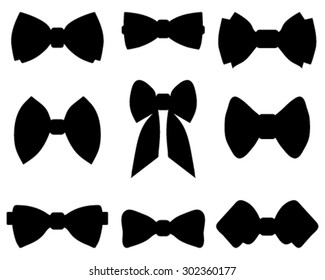 Black silhouettes of bow tie, vector
