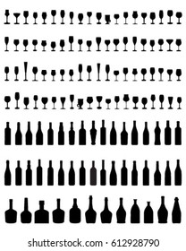 Black silhouettes of bowls, bottles and glasses, vector
