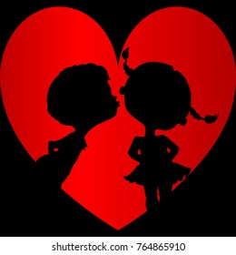 black silhouettes of a boy and a girl before a kiss in heart on a black background